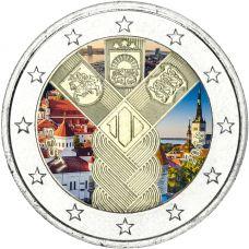 Viro 2018 2 € Baltian maat 100 vuotta VÄRITETTY