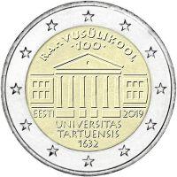 Viro 2019 2 € Tarton yliopisto 100 vuotta UNC