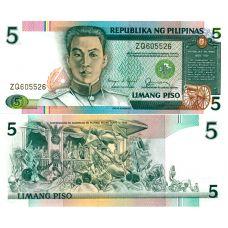Filippiinit 1985 5 Piso P168b UNC