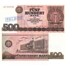 Itä-Saksa 1985 500 Mark P33 väärennös UNC
