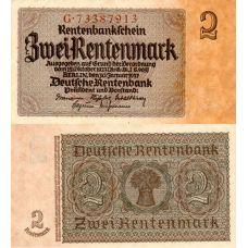 Saksa 1937 2 Rentenmark P174b UNC