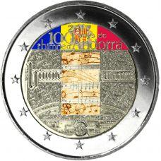 Andorra 2017 2 € Hymnin 100-vuotisjuhla VÄRITETTY