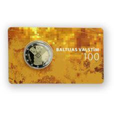 Latvia 2018 2 € Baltian maat 100 vuotta COINCARD