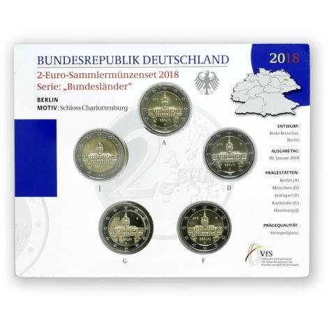 Saksa 2018 2 € Charlottenburgin linna Berliinissä ADFGJ BU