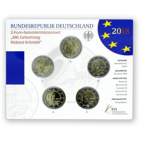 Saksa 2018 2 € Helmut Schmidt ADFGJ BU