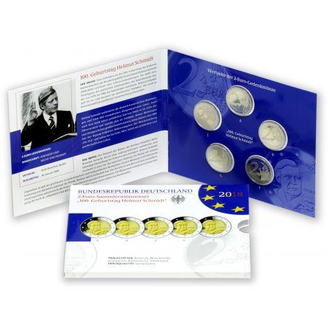 Saksa 2018 2 € Helmut Schmidt ADFGJ PROOF