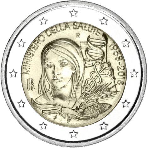 Italia 2018 2 € Terveysministeriö 60 vuotta UNC