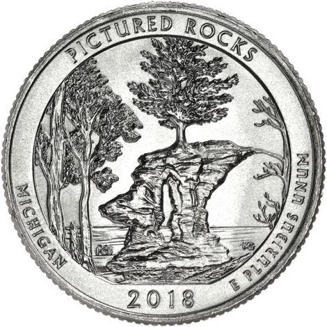 """USA 2018 $0,25 Michigan Pictured Rocks National Lakeshore """"D"""" UNC"""