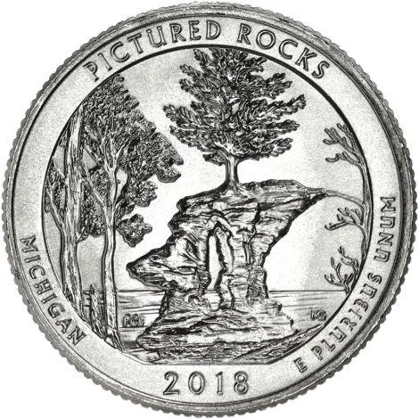 "USA 2018 $0,25 Michigan Pictured Rocks National Lakeshore ""P"" UNC"