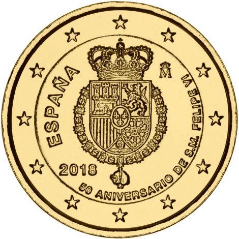 Espanja 2018 2 € Felipe VI 50-vuotispäivä KULLATTU