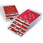Kolikkolaatikko, Leuchtturm MB 50x50mm - 20 paikkaa, QUADRUM-kapseleille, harmaa/punainen (320565)