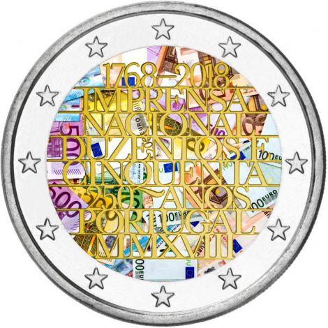 Portugali 2018 2 € INCM 250 vuotta VÄRITETTY