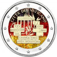 Vatikaani 2014 2 € 25 vuotta Berliinin muurin kaatumisesta VÄRITETTY