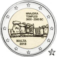 """Malta 2018 2 € Mnajdran temppelit """"F"""" UNC"""
