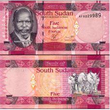 Etelä-Sudan 2011 5 Pounds P6a UNC
