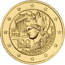 Itävalta 2018 2 € Itävallan tasavallan 100-vuotisjuhlavuosi KULLATTU