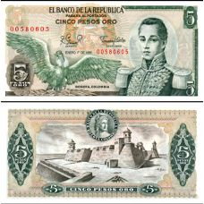 Kolumbia 1981 5 Pesos Oro P406f UNC