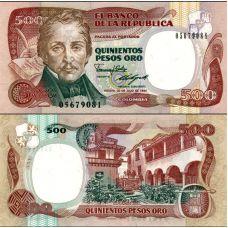 Kolumbia 1989 500 Pesos Oro P431-89 UNC