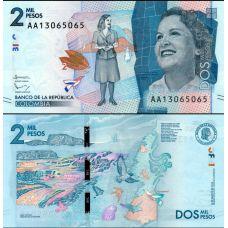 Kolumbia 2015 2000 Pesos P458 UNC