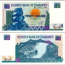 Zimbabwe 1997 20 Dollars P7 UNC
