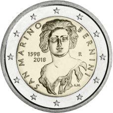 San Marino 2018 2 € Gian Lorenzo Bernini irtokolikko UNC