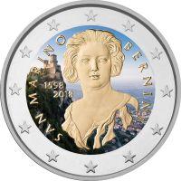 San Marino 2018 2 € Gian Lorenzo Bernini VÄRITETTY