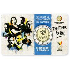 Belgia 2016 2 € Olympialaiset Riossa - hollanti COINCARD