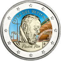 Vatikaani 2018 2 € Padre Pio VÄRITETTY