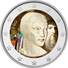 Italia 2019 2 € Leonardo da Vinci VÄRITETTY
