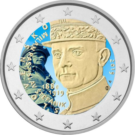 Slovakia 2019 2 € Milan Rastislav Stefanik VÄRITETTY