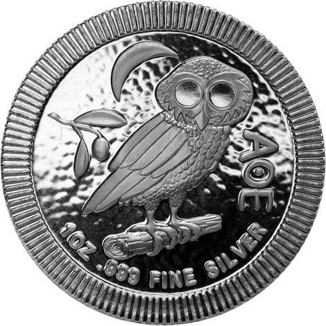 Niue 2019 2 Dollars Minervan pöllö 1 unssi HOPEA