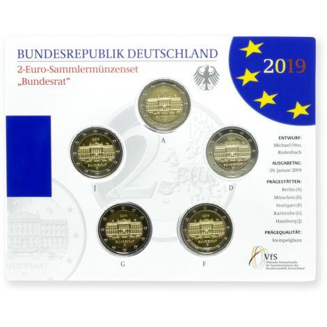 Saksa 2019 2 € Bundesrat ADFGJ BU