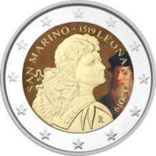 San Marino 2019 2 € Leonardo da Vinci VÄRITETTY