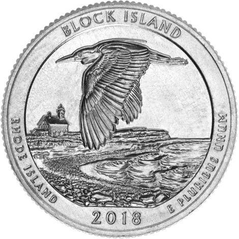 "USA 2018 $0,25 Rhode Island Block Island National Wildlife Refuge ""P"" UNC"