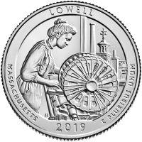"USA 2019 $0,25 Massachusetts Lowell National Historical Park ""S"" UNC"