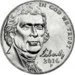 """USA 2016 $0,05 Jefferson - Monticello """"P"""" UNC"""