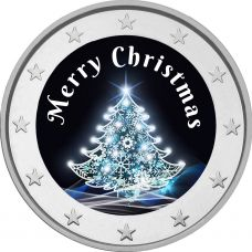 2 € Hyvää Joulua - joulukuusi VÄRITETTY