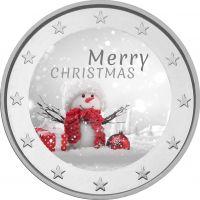 2 € Hyvää Joulua - lumiukko VÄRITETTY