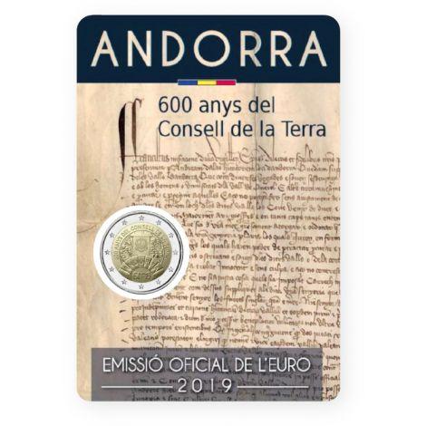 Andorra 2019 2 € Maaneuvosto 600 vuotta COINCARD