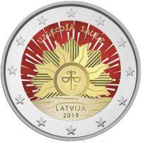 Latvia 2019 2 € Vaakuna - nouseva aurinko VÄRITETTY