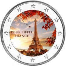 2 € Ranska - Eiffel-torni VÄRITETTY