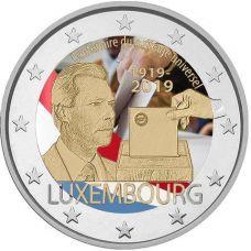 Luxemburg 2019 2 € Yleinen äänioikeus 100 vuotta VÄRITETTY