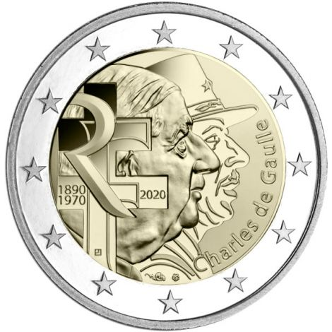 Ranska 2020 2 € Charles de Gaulle UNC