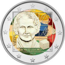 Italia 2020 2 € Maria Montessori VÄRITETTY