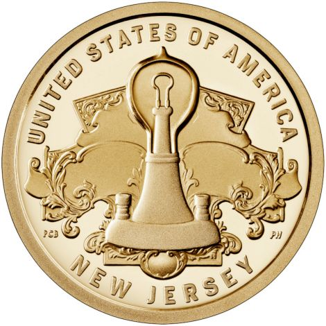 "USA 2019 $1 New Jersey - Lightbulb ""P"" UNC"