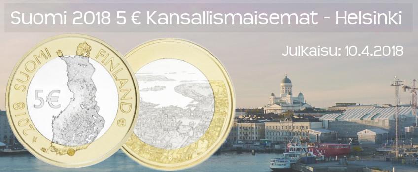 Suomi 2018 5 € Kansallismaisemat - Helsinki
