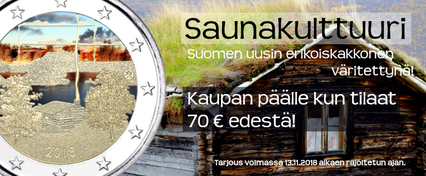 Suomi 2018 2 € Suomalainen saunakulttuuri VÄRITETTY