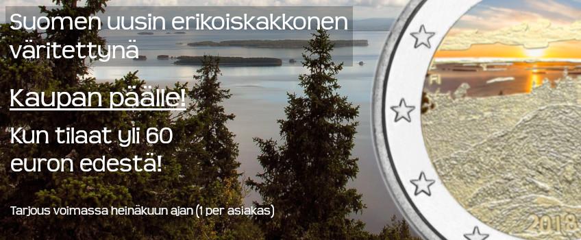 Suomi 2018 2 € Suomalaiset kansallismaisemat Koli Väritetty