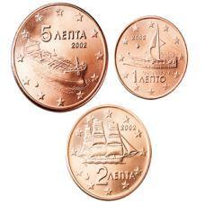 Kreikka 2008 1 c, 2 c, 5 c Irtokolikot UNC