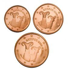 Kypros 2008 1 c, 2 c, 5 c Irtokolikot UNC
